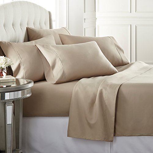 6 Piece Hotel Luxury Soft 1800 Series Premium Bed Sheets Set, Deep Pockets, Hypoallergenic, Wrinkle & Fade Resistant Bedding Set(Queen, Taupe)