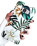 J.west Galaxy S8+ Plus Case for Girls Women, Floral Green Leaves with White & Brown Flowers Pattern Design Slim Soft Silicone TPU Phone Cover Shockproof Protective Case for Samsung Galaxy S8 Plus Leaf
