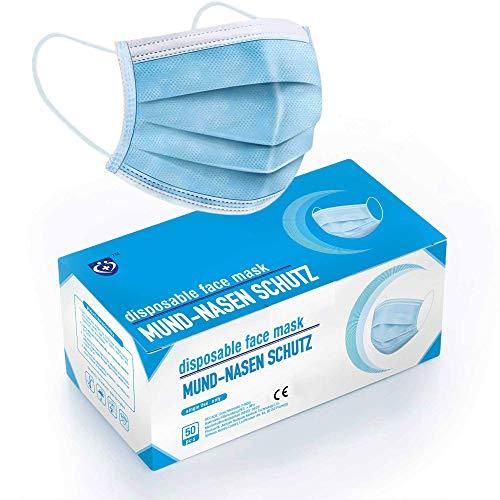 """ATEMSCHUTZMASKE - Test: """"SEHR GUT"""" - 50x TÜV geprüfte Mundschutz Einwegmasken EN14683 TYP II mit 98% BFE - Mundschutz Maske - Medizinischer Masken Mundschutz - Mund und Nasenschutz"""