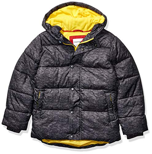 Amazon Essentials Kids Boys Heavy-Weight Hooded Puffer Jackets Coats, Charcoal Heather, X-Small