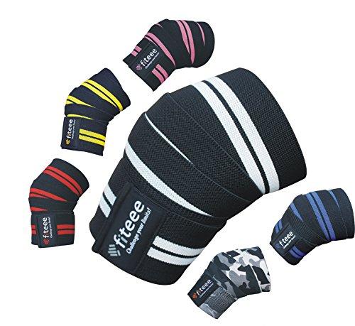 BOUT3 Kniebandage 166cm x 8cm (ohne Dehnung), Kniebandage mit Klettverschluss für Fitness, Bodybuilding, Kraftsport & Crossfit, Gelenkprobleme - Frauen/Männer (Knie Weiß)