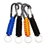 REHTAEL [4-Pack Professional Paracord Keychain with Carabiner, Military Braided Paracord Lanyard for Survival, Keys, Knife, Outdoor Camping (4Pack; 2black+1blue+1orange)