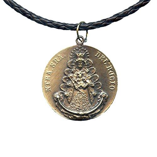 PINEDA Medalla Virgen del Rocio Metal Y Cuero 36MM