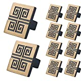 WELLOCKS Cabinet Knob 10 Pack Retro Gold, Heavy Duty Square Drawer Pulls, Zinc Alloy Cabinet Hardware for Office and Home Kitchen, Bathroom Cabinet, Dresser and Cupboard DIY(D025)