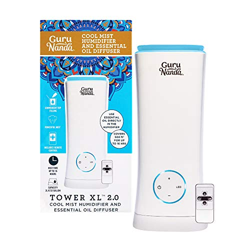 GuruNanda Tower XL Essential Oil Diffuser for Large Room - Lasts 16 Hours - 2 in 1 Aromatherapy Cool Mist Humidifier - Quiet, Remote Control, Auto Off, Ultrasonic with LED Lights (2L/0.53gal)