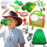 Bug Catcher for Kids Explorer Kit Adventure Kit Nature Exploration with Bug House Binocular Flashlight Magnifying Glass Butterfly Net Outside Outdoor Toys Ages 3-12 Gifts for 4 5 6 Year Old Boys Girls