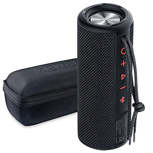 Xeneo X21 Portable Outdoor Wireless Bluetooth Speaker Waterproof with FM Radio, Micro SD Card Slot, AUX for Shower - Hard Travel Case Included