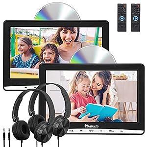 """10.1"""" Reproductor de DVD para Reposacabezas de Coche con 2 Auriculares, Dual DVD Pantallas para Niño soporta DVD Región Libre/USB/SD/AV-in/AV-out/AUX - NAVISKAUTO"""