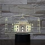 Taj Mahal, India 16 Colores Lámpara De Mesa, Luz De Noche Diseño 3D Regalo Control Cambio Colores Óptica Iluminación Habitación Decoración Nocturna Navidad Led Festivo Optica Regalo Juego 3D Lámpara B
