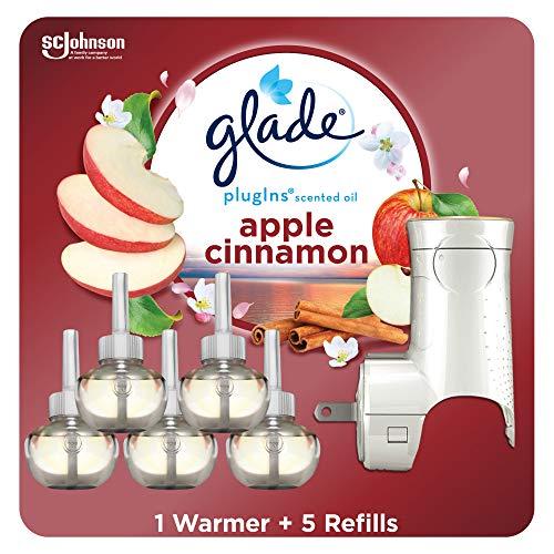 Glade PlugIns Refills Air Freshener Starter Kit, Scented Oil for Home and Bathroom, Cashmere Woods, 3.35 Fl Oz, 1 Warmer + 5 Refills