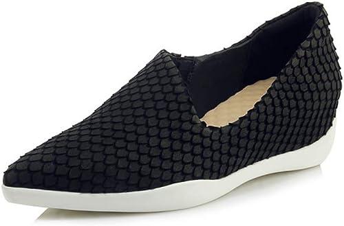 YAN Wedge Chaussures Printemps été Daim Mocassins & Slip-Ons Pointu Pointu Pointu Flats Mode Les Les dames Plate-Forme Chaussures Rouge Noir pour Femmes,noir,37 823