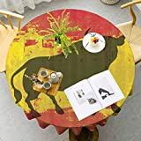 Nappe ronde espagnole bull cafétéria vieilli symbole espagnol icône espagnol drapeau espagnol Grunge numérique Clip art funky Belle décoration imprimée pour amis Rouge et jaune Diamètre 63 cm