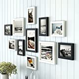 "Material : High Quality Synthetic Wood, unbreakable Plexi Glass and Mdf Back; Color : black Photo Size : 3 piece : 8"" x 10"", 8 piece : 6"" x 8"" (White matt board included) Total Wall Size : 32"" x 60"", Photo pieces hang both vertically and horizontally..."