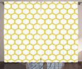 Ambesonne Yellow and White Curtains, Hexagonal Pattern Honeycomb Beehive Simplistic Geometrical Monochrome, Living Room Bedroom Window Drapes 2 Panel Set, 108' X 63', Yellow White