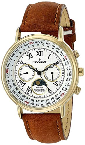 Peugeot Vintage Multi-Function Watch, Perpetual Calendar with Moon Phase, Brown Leather B