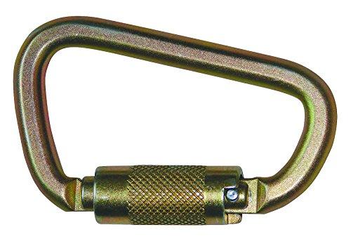 FallTech 8445 Steel Carabiner - Compact Twist Lock, 7/8' Opening, 3,600 lb Gate, Gold