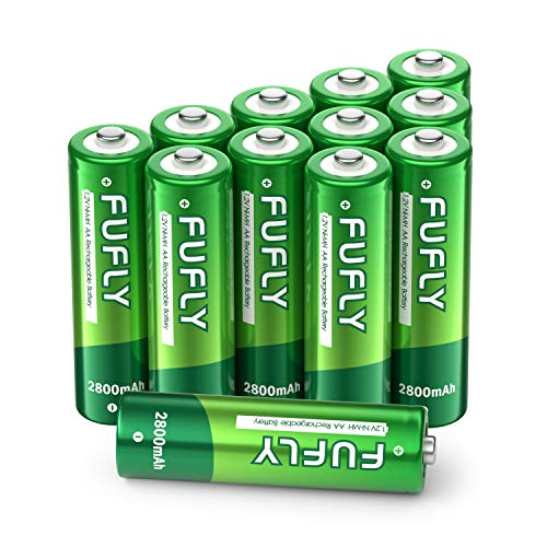 Fufly AA Rechargeable Batteries 2800mAh - 1.2V Ni-MH High Capacity Low Self Discharge Precharged Double A Battery (Pack of 12)