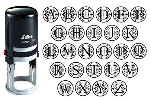 Benutzerdefinierte AZ Alphabet Stamp in schwarzer Tinte Monogramm Runde Stempel Selbst Farbwerk Initial Stamp SHINY Mini Stamper 20 mm