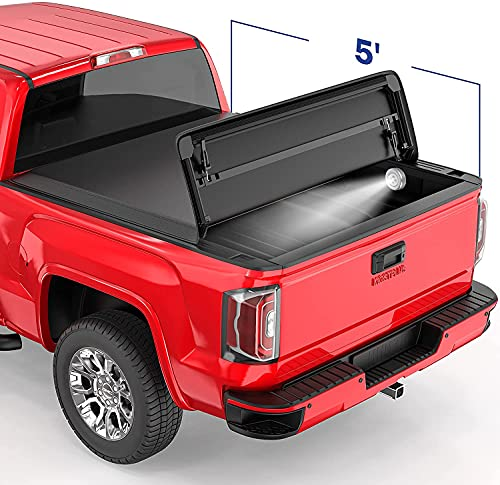 MOSTPLUS Tri Fold Soft Folding Truck Bed Tonneau Cover Compatible with 2005-2021 Nissan Frontier Fleetside/2009-2014 Suzuki Equator 5 FT On Top