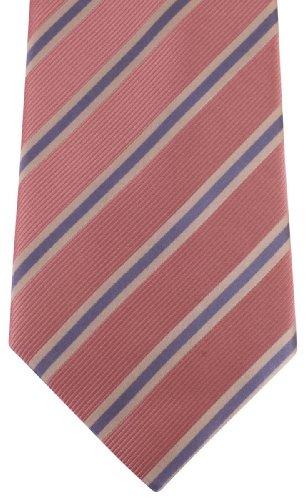 David Van Hagen / Blanc/Lilas régiment rayé cravate rose de