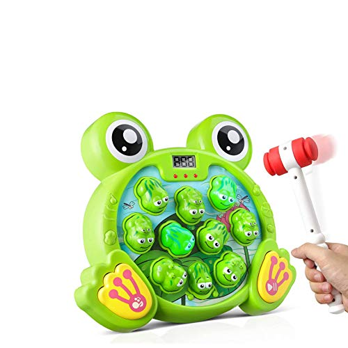 Interactive Whack A Frog Game, Baby Fun Toys Gift for Age 2,3, 4, 5, 6, 7, 8 Years Old Kids, with Toy Bag and 2 Hammer (Frog Game)
