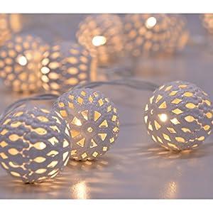 LED Lichterkette mit Kugeln warmweiß in vier Farben Weihnachtsdeko Tischdeko