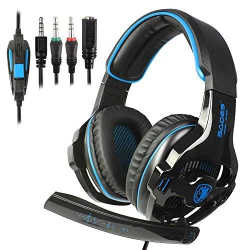 SADES 3.5mm Gaming-Headset Surround Stereo verdrahtet über Ohrwurm-Kopfhörer mit MIC-Revolution-Volume-Control-Licht für Xbox One/PS4/PC/Mac/Laptop (schwarz/blau)