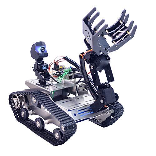 Batop Panzer Smart Roboter Kit für Arduino MEGA, Programmierbar Robot Car mit WiFi, Bluetooth Modul, FPV, Hindernisdetektoren und Ultraschall Sensor - Kompatibel mit Arduino/ Raspberry Pi