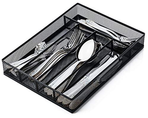 JANE EYRE Utensil Drawer Organizer, Cutlery Tray Silverware Flatware Storage Divider for Kitchen, Mesh Wire with Non-slip Foam Feet, 5 Component, Black