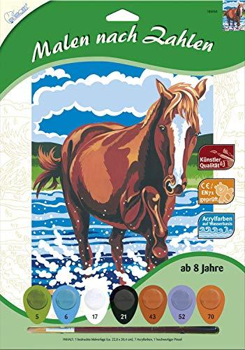 MAMMUT 105050 - Malen nach Zahlen Tiermotiv, Pferd, Komplettset mit bedruckter Malvorlage im A4 Format, 7 Acrylfarben und Pinsel, Malset für Kinder ab 8 Jahre