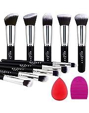BEAKEY Makeup Brush Set Premium Synthetic Kabuki Foundation Face Powder Blush Eyeshadow Brushes Makeup Brush Kit met Blender Spons en Brush Egg (10 + 2 stuks, Zwart/Zilver)
