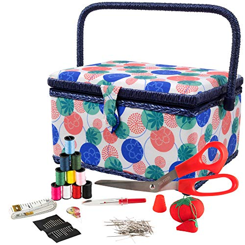 Black Flrhsjx Medium Sewing Basket with Accessories Sewing Storage Box with Supplies DIY Sewing Kits for Adults//Kids
