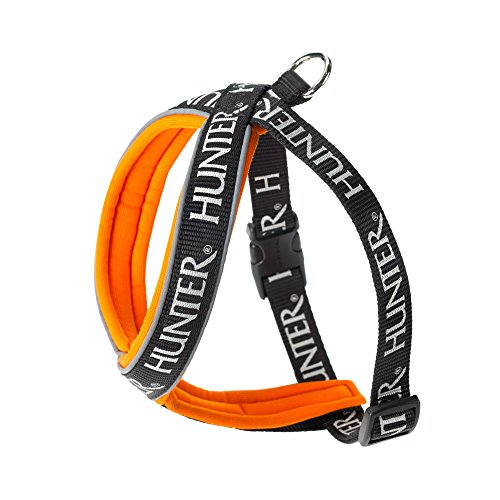 HUNTER Hundegeschirr Neopren Oakland, 80, reflektierend, schwarz/orange