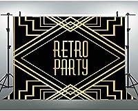 HDGreat Gatsbyをテーマにしたパーティーの背景7x5ftレトロなブラックゴールドの誕生の背景の写真30th 60thバースデーフォトブースの背景 0316
