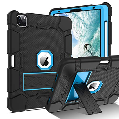 BENTOBEN Case for iPad Air 4 2020 10.9 Inch, iPad Pro 11 Case 2020 &2018, Three Layers Hybrid Shockproof Rugged Case with Pencil Holder Kickstand Protective Case for iPad 10.9 Inch 2020, Black/Blue