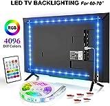 BASON Led TV Hintergrundbeleuchtung, 13.09ft/399cm USB LED Streifen RGB, DIY 4096 Farben Led Strip mit 24 Tasten Fernbedienung, Led Beleuchtung für 60-70 Zoll TV/Wandhalterung Cinema Dekoration