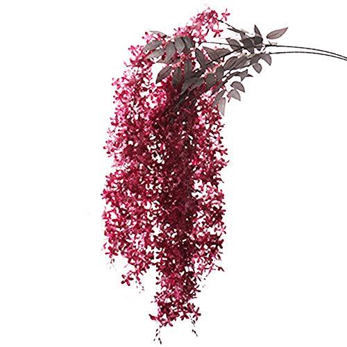 Oce180anYLVUK Flor Artificial, Lila Artificial Wisteria Flor Planta Colgante De Pared Vid Decoración De Escenario De Boda Rojo Rosa