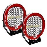 Safego 2pcs Focos LED Tractor, 9' 408W 32600LM Faros Trabajo LED Spot 12V-24V LED IP68 Impermeable Luz de Niebla para Coche, SUV, UTV, ATV, Off-road, Camión, Moto - Garantía de 1 años(Concha negra)