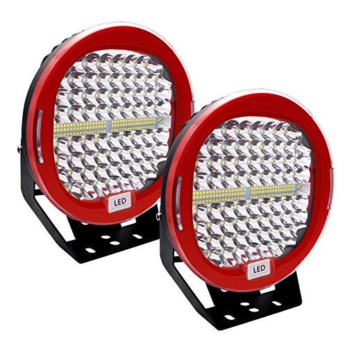 Safego 2pcs Focos LED Tractor, 9  408W 32600LM Faros Trabajo LED Spot 12V-24V LED IP68 Impermeable Luz de Niebla para Coche, SUV, UTV, ATV, Off-road, Camión, Moto - Garantía de 1 años(Concha roja)