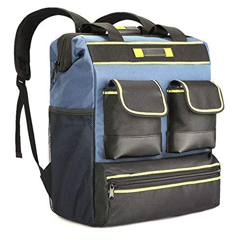 Werkzeugrucksack, wasserdichter Kunststoffboden, atmungsaktive Polsterung, Laptop Rucksack Schwerlast Wasserdicht mit Hartgeschältem Business Daypack,B