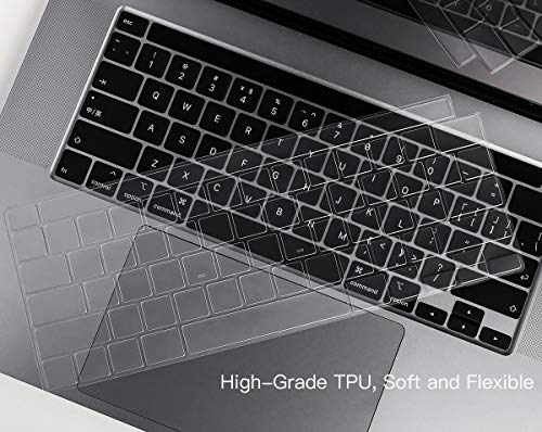 "Ultra Thin Keyboard Cover for 2020 Newest MacBook Pro 13 inch A2338 (M1) A2289 A2251 & 2020 2019 New MacBook Pro 16 inch… 2 COMPATIBILITY: The Keyboard Cover perfect fit for 2020 Newest MacBook Pro 13"" with Apple M1 Processor Model A2338 (M1) A2289 A2251 with Magic Keyboard and New Macbook Pro 16 Inch 2020 2019 Release Model A2141 with Touch Bar Touch ID Keyboard Cover Skin (NOT for other models), US Keyboard Layout. HIGH-GRADE TPU MATERIAL: Made with premium engineering grade TPU material, soft and flexible, healthy and environment friendly. ULTRATHIN & SLIM: Ultra thin 0.13mm thickness to minimize typing interference, high transparency film allows backlight keyboard to shine through."