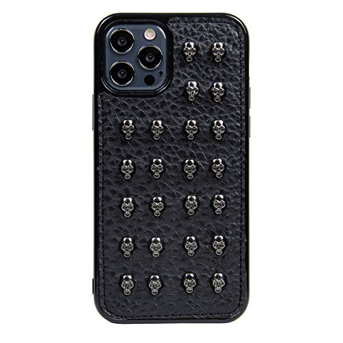 CHANROY Compatible with iPhone 12 /iPhone 12 Pro Case(6.1 inch) Black Punk Leather Rock Style Cool Case Cover for Men and Women(Skull Studded)