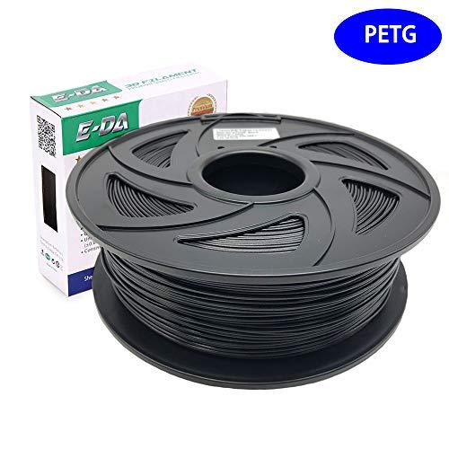 E-DA PETG 3D Printer Filament, Pteg Filament 1.75mm 1KG/2.2lbs Suitable for Most 3D Printers(Black)
