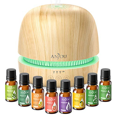 Essential Oil Diffuser Gift Set - Anjou 300ML Ultrasonic Aromatherapy Diffuser & Cool Mist Humidifier with Essential Oils, Extra-Quiet, Waterless Shut-Off, Up to 8h Aroma for Home Office