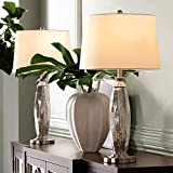 Carol Modern Contemporary Table Lamps Set of 2 Mercury Glass Column White Drum Shade Decor for Living Room Bedroom Beach House Bedside Nightstand Home Office Entryway Family - 360 Lighting