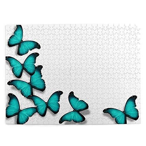 Jigsaw Puzzles for Kids Adults Toy,Turquoise Butterflies, Isolated On White Background,500 Piece Picture Puzzle Game,Educational Fun Game for Christmas birthday gi-ft