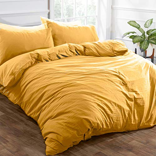 Brentfords Funda de edredón de Lino Lavado con Funda de Almohada de Microfibra cepillada Suave, Color Amarillo Ocre Mostaza - King