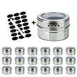RUCKAE 18 Magnetic Spice Tins, Stainless Steel Storage Spice Containers,Clear Top Lid with Sift or Pour,Magnetic on Refrigerator and Grill