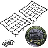 2 Pack of 15.7'x15.7' Bungee Cargo Net Stretches to 30'x30' Elastic Motorcycle Luggage Bungee Netting with 12 Metal Hooks Stretchable Bungee Cord Mesh Load Net Bike Paddle board Quad Canoe Moped ATV