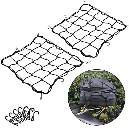 2 Pack of 157quotx157quot Bungee Cargo Net Stretches to 30quotx30quot Elastic Motorcycle Luggage Bungee Netting with 12 Metal Hooks Stretchable Bungee Cord Mesh Load Net Bike Paddle board Quad Canoe Moped ATV